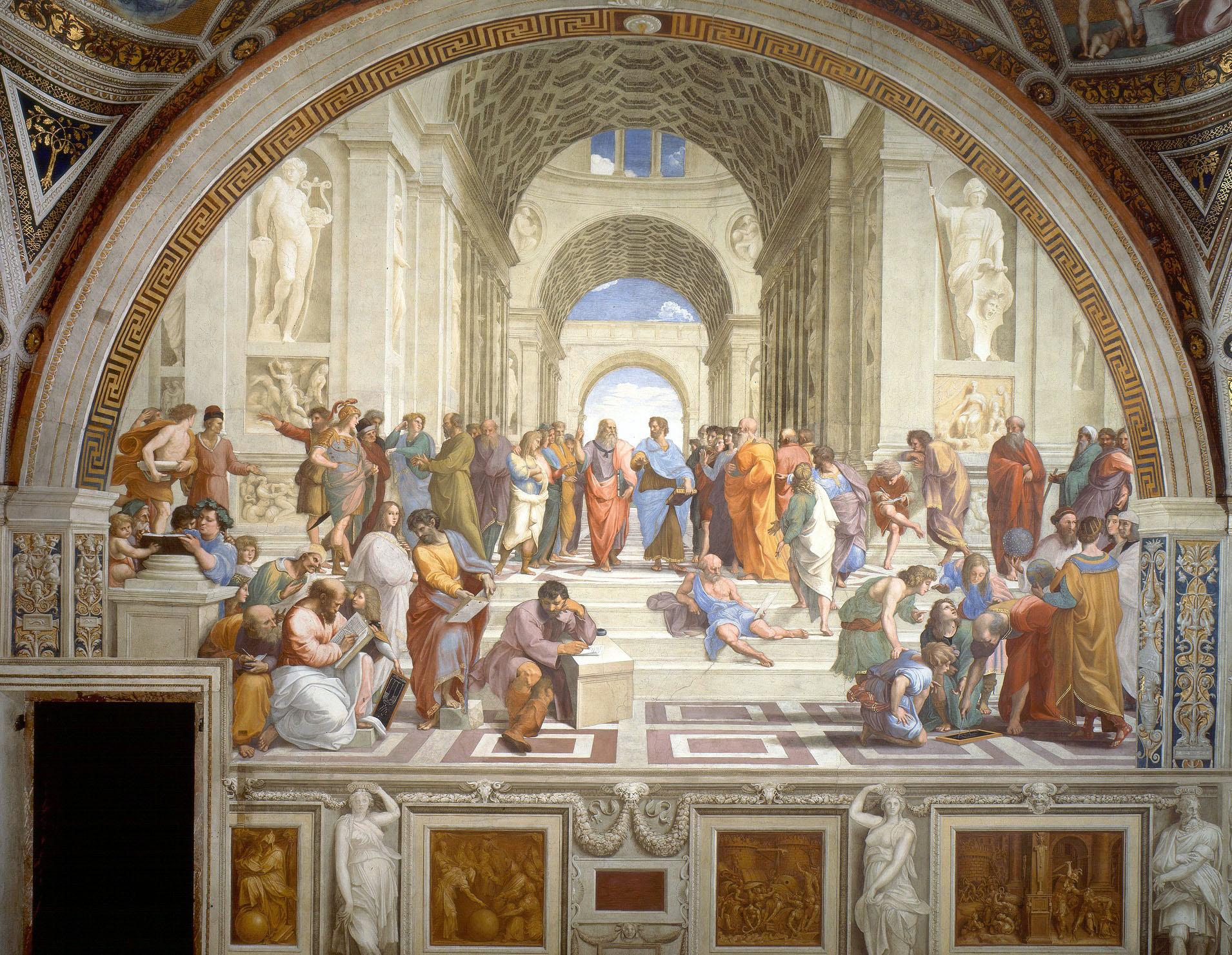 Raffaello Sanzio, Scuola di Atene (1510; Roma, Città del Vaticano, Palazzi Vaticani, Stanza della Segnatura)