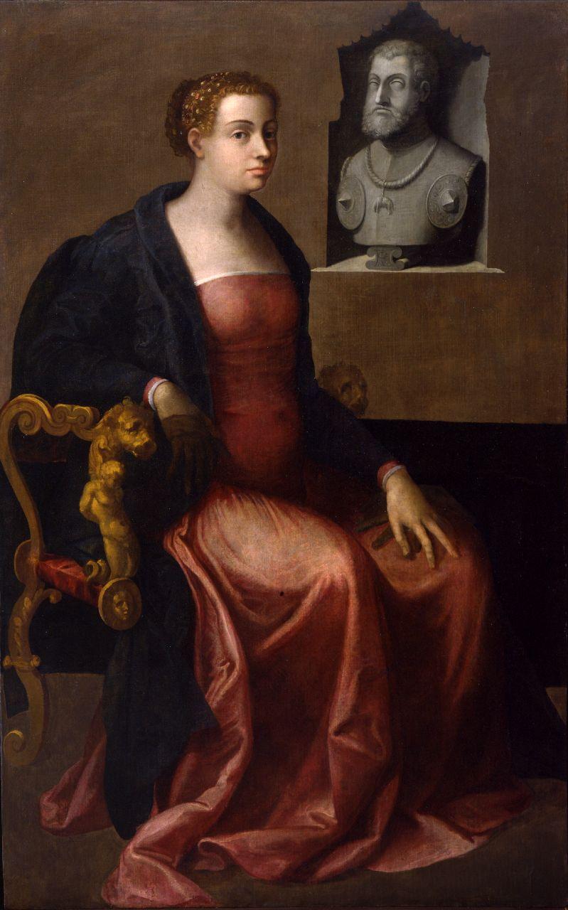 Attribuito a Sebastiano del Piombo, Ritratto di Margherita d'Austria (1545 circa; olio su tela, 169,7 x 105,3 cm; Parma, Complesso della Pilotta, Galleria Nazionale)