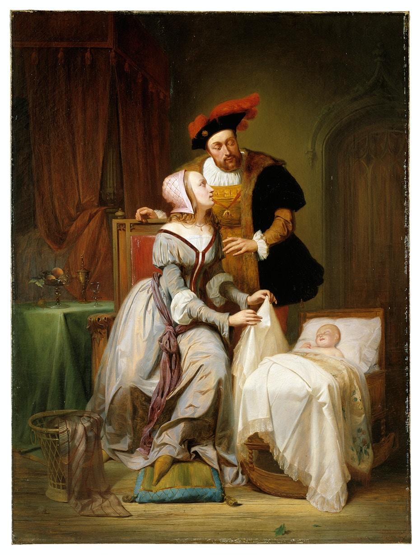 Théodore Joseph Canneel, L'imperatore Carlo V e Giovanna van der Gheynst con la loro figlia Margherita nella culla (1844; olio su tela, 108,2 x 80,5 cm; Gent, Museum voor Schone Kunsten)