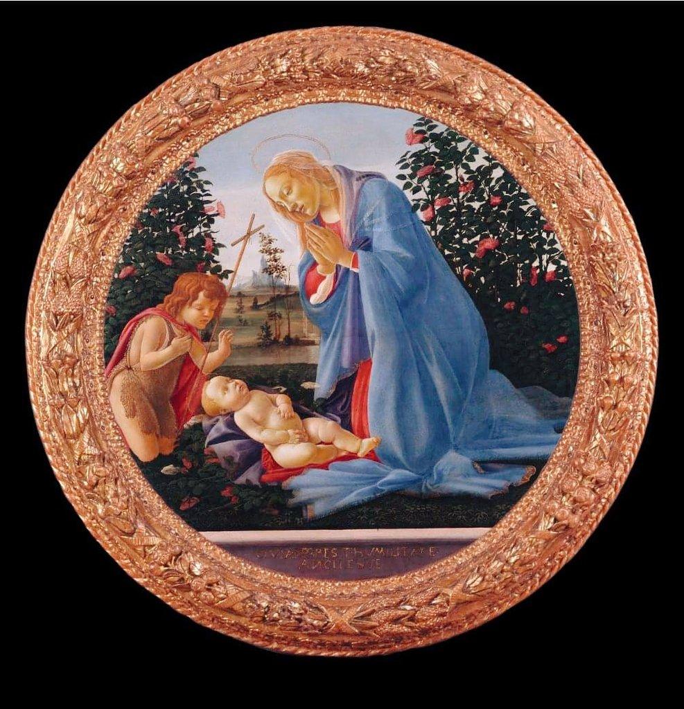 Sandro Botticelli, Madonna adorante il Bambino con San Giovannino (1475-1480 circa; tempera su tavola; Piacenza, Musei Civici di Palazzo Farnese)