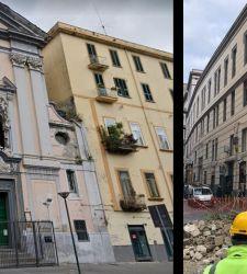 Napoli, crollo parziale della facciata del Rosariello, importante chiesa del '600