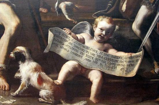 Mattia Preti, Madonna di Costantinopoli (1656; olio su tela, 286,5 x 196 cm; Napoli, Museo Nazionale di Capodimonte), particolare